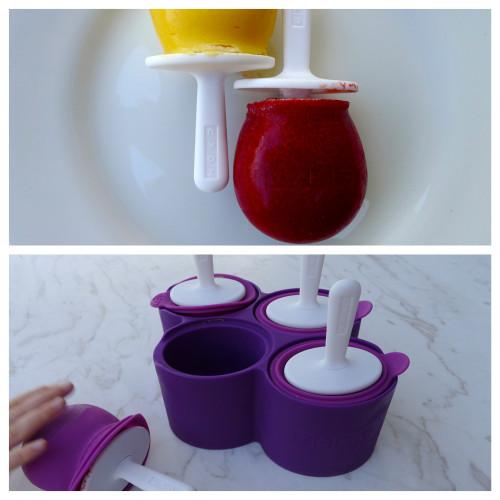 ZOKU formītes (silikona, ar plastmasas statīvu) un tur saldēts mango un zemeņu sorbets